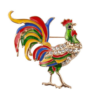 Colorful Crystal Diamante Chicken Hens Rooster Animal Brooch Pins for Women in Gold Plated