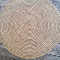 "Jute and Sisal Cord Round Crochet Rug 30"" READY TO SHIP"