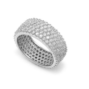 925 Sterling Silver CZ Eternity Pave Ring 8MM