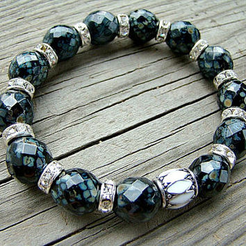 Black Glass Bead Bracelet, Stretch Bracelet, White and Black Enamel Bead, Clear Crystal Rhinestone, Black Picasso Beads, Stacking Bracelet