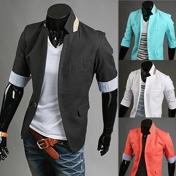 the new 2014 design blazer men leisure fashion summer personality 7 minutes of sleeve Cultivate one's morality suit