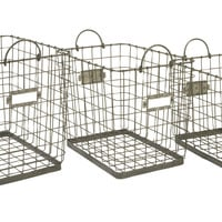 Newbridge Wire Storage Baskets - Set of 3