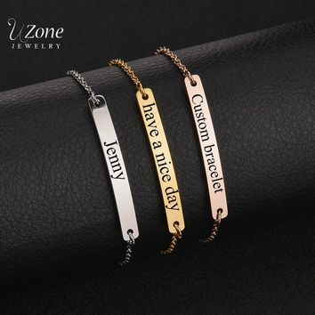 New Arrival Customize Jewelry Engraved Name Bracelet Stainless Steel ID Card Bracelet & Bangle Women Children Gift