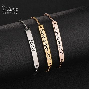 New Arrival Customize Jewelry Engraved Name Bracelet Stainless Steel ID Card Bracelet & Bangle Women Children