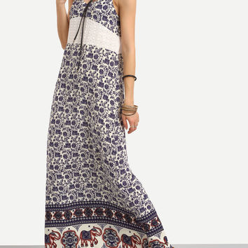 Embroidery Patchwork Print Prom Dress Spaghetti Strap Dress Vacation Maxi Dress [10356676877]