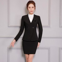 Appliques Two Piece Ladies Formal Skirt Suit Office Uniform Designs Women Business Suits for work