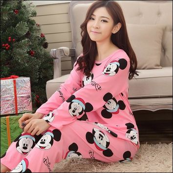 New women long-sleeve carton sleepwear pajama sets female nightwear lady Pyjamas nightgowns teenage pijamas home clothes