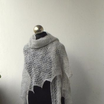 Very Light Grey knit lace shawl, hand knitted lace shawl