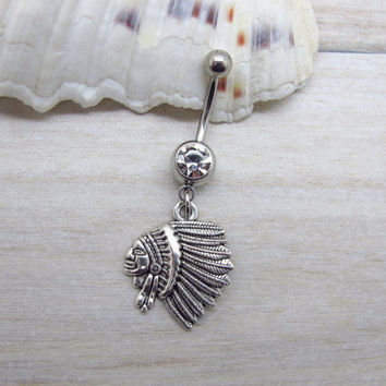 Antique silver indian belly button ring , indian navel piercing, friendship belly button ring, unique gift