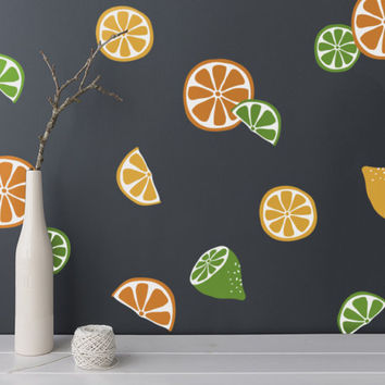Citrus Fruits Wall Decals - 4-Color Decals, Oranges, Lemons and Limes Decals, Modern Wall Decals, Unique Wall Decor, Kitchen decor, Nursery