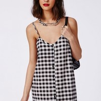 Missguided - Button Through Cami Swing Dress Black Gingham