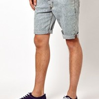 ASOS Denim Shorts With Acid Wash at asos.com