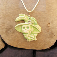 Dios de la meurte Day of The Dead Green Ceramic Pendant Necklace Jewelry  Sugar skull