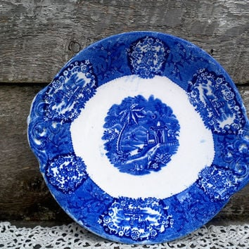 "Antique Flow Blue Ironstone Dual Handle Plate, 1880-1910 ""Franzant Mehlem"" Crown Impressed, Serving, Germany, Blue Transferware, Estate"