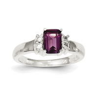 Sterling Silver Purple & White CZ Ring