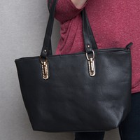 Lucky 21 Pebbled Faux Leather Tote Handbag With Rhinestone Detail - Black