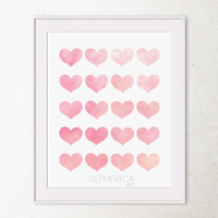 Baby Pink Hearts art print, Girly wall art, Valentines decor, Girls Bedroom wall decor Hearts Love art wall print