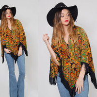 Vintage 60s Poncho PSYCHEDELIC Fringe Poncho Hippie Cape Cotton PAISLEY Boho Top