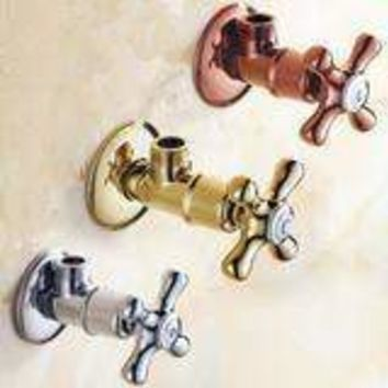 """Faucet Replacement Parts 1/2"""" X 1/2"""" Gold Brass Angle Stop Valve For Toilet Or Faucet"""