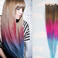 Tie Dye Dip Dyed Hair, Clip In Hair Extensions, Tie Dye Tips, Brunette Hair, Hair Wefts, Human Hair Extensions, Hippie hair, Pink Hair