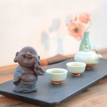Purple Sand Ceramic Happy Buddha Tea Pet Figurine