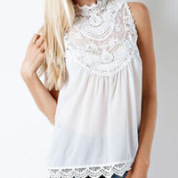 2016 Summer Beach Holiday Chiffon Lace Loose Sleeveless Shirt Blouse Top Casual Party Playsuit Clubwear Bodycon Boho Top Shirt T-Shirt Top Women Tank Vest Shirt T-shirt _ 8966