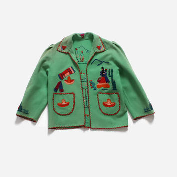 Vintage 40s Girl's MEXICAN Jacket / 1940s Little Girls Embroidered Wool Souvenir Tourist Jacket