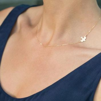 Dove Sliver Gold Plated Simple Chain Bar Statement Choker Necklace Peace Dove Charm Pendant Necklaces Women Jewelry Gift