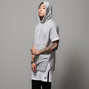 Mens Oversize Side Slit Ribbed Short Sleeve Sweats Hoodie at Fabrixquare