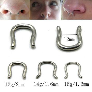 ac ICIKO2Q PAIR Surgical Steel Horseshoe U Shape Nose Septum Hoop Rings Ear Hanger Piercing Body Jewelry 12g& 14g&16g& for choose