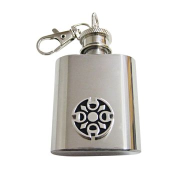 Round Celtic Design 1 Oz. Stainless Steel Key Chain Flask