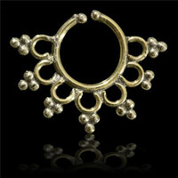 Beautiful Detailed Brass Septum For Non Pierced Nose - Body jewelry - Tribal Jewelry - Indian Jewelry - Ethnic Jewelry
