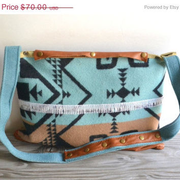 ON SALE Southwest Cross body bag - Wool and Leather Bag - Upcycled Large Purse - OOAK