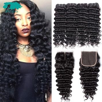 Brazilian Hair Weave Bundles With Closure 3/4 Pcs Deep Wave Bundles With Closure Allrun Human Hair Bundles With Closure Non Remy