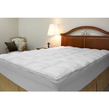 Microfiber Baffled Box Twin/ Full-size Fiber Bed Topper with Skirt