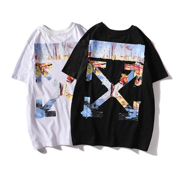OFF Europe and the United States tide brand ink figure oil painting graffiti arrow off white printing casual loose round neck short-sleeved T-shirt men and women