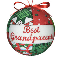Best Grandparents Handmade Christmas Ornament Tree Decoration Home Decor Handcrafted Quilted Ornament Kimekomi Ornament by CraftCrazy4U