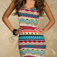 Blue Tribal Printed Bodycon Dress