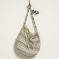 Ivory and Black Tribal Bucket Bag | World Market
