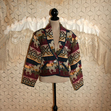 Woven Tapestry Horse Jacket Blanket Coat Native American Western Jacket Southwestern Jacket Cowgirl Jacket Medium Large Womens Clothing