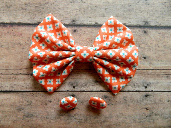 Hairbow And Button Earrings Gift Set From Little Love Bugs