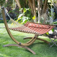 Modern 13-Ft Quilted Hammock with Faux Mahogany Wood-grain Arch Metal Stand
