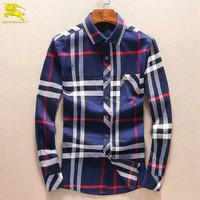 Boys & Men Burberry Fashion Casual Long Sleeve Shirt