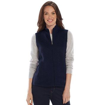 Croft & Barrow Quilted Mockneck Vest  Women's Size: