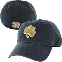 Notre Dame Fighting Irish '47 Brand Gold Shamrock Classic Franchise Fitted Hat – Navy Blue