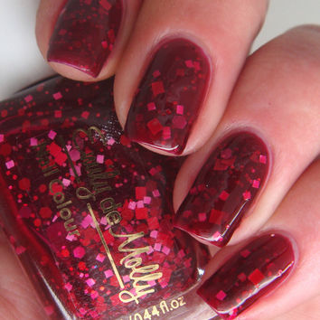 Nail polish  No Love Lost  red and pink glitter in by EmilydeMolly