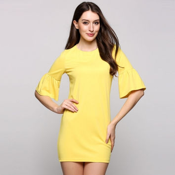 Half Bell Sleeve Round Collar Solid Sheath Mini Casual Dress