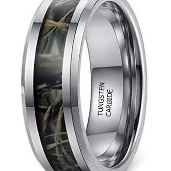 CERTIFIED 8mm Tungsten Carbide Camo Rings Wedding Engagement Band
