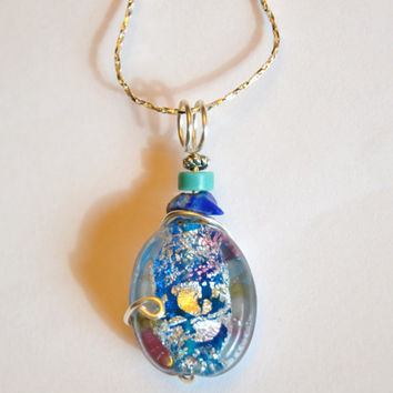Fused glass necklace, foiled lined beads, silver necklace, turquoise jewelry, Montana made, dichroic glass,  murano glass, lapis pendant