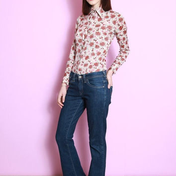 Vintage 1970's Amazing Pink Floral Print Fitted Shirt